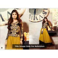 Karma Bollywood Shilpa Shetty Awesome Yellow and Georgette Salwar Kameez Dress