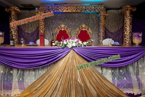 WEDDING GOLD STAGE WITH EMBRODRIED BACKDROP