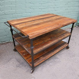 Reclaimed Wood and Iron Display Shelf