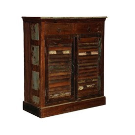 Reclaimed Wood Shutter Cabinet with Drawers