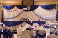 Wedding Stage White Blue Backdrop