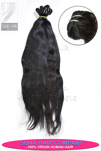 Silky straight natural color remy human hair extension