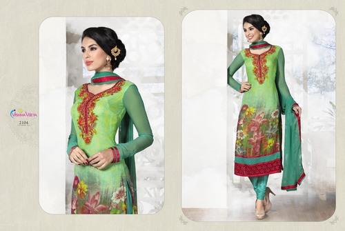 Digital Print Long Green Colour Suits
