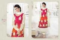 Digital Print Long Red Colour Suits