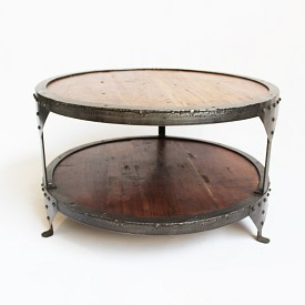 Round Old Wood And Iron Coffee Table
