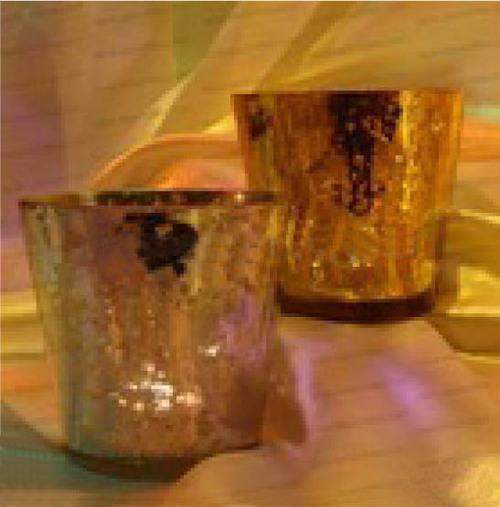 GLASS CANDLE VOTIVE MERCURIC SILVER