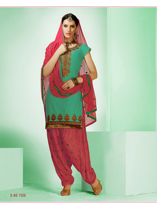 Unstitched Cotton Embroidered Suits