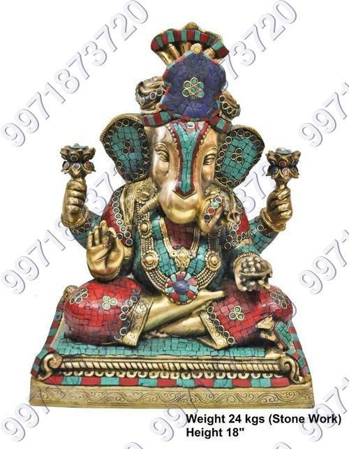 Brass stone Ganesha Statue