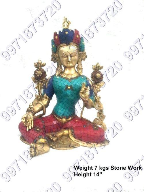 Stone worked brass goddess