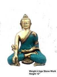 Green Stone worked buddha statue