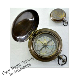 Brass Pocket Compass w/Antique FinishPush Button