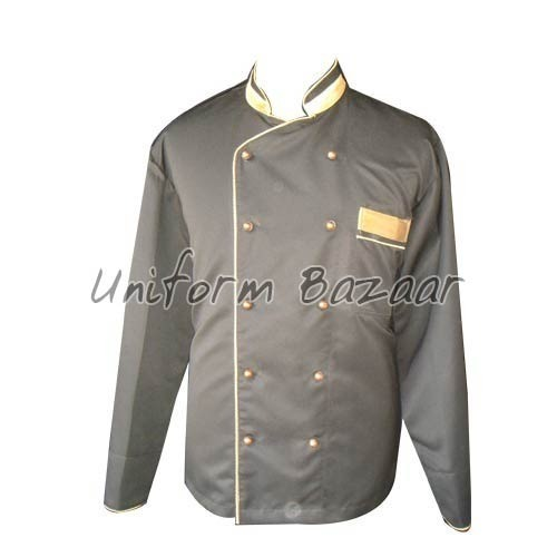 Black With Gold Piping Chef Coat