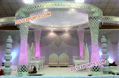 Crystal Wedding Mandap With Pot Pillars