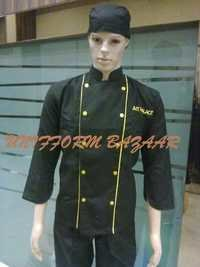 Black With Yellow Piping Chef Coat