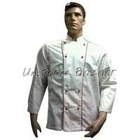 White With Red Piping Chef Coat