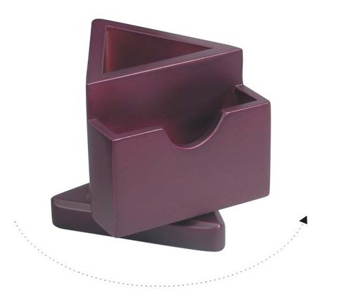 Revolving triangle shape pen tumbler  card holder