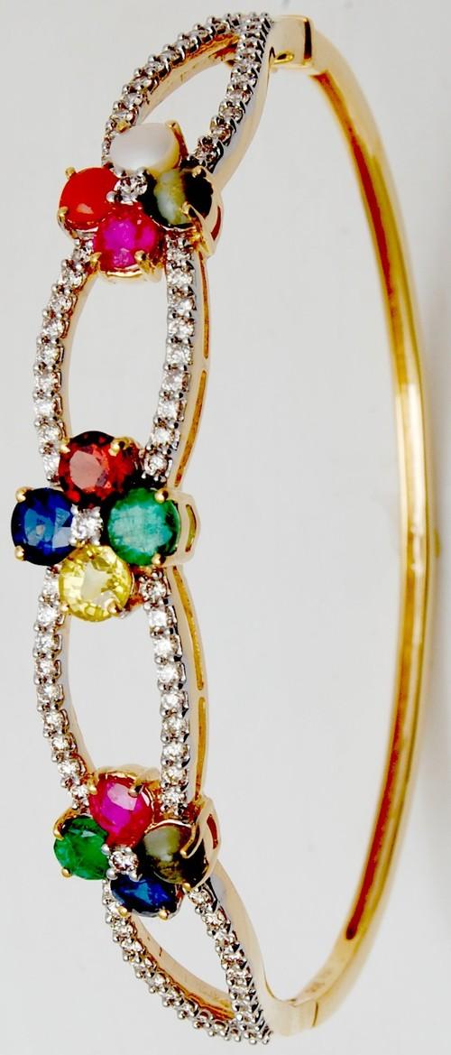 Precious navratna gemstone bangle manufacturer
