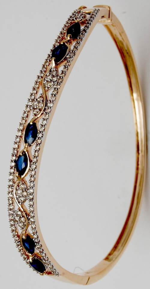 elegant blue gemstone half bangle design