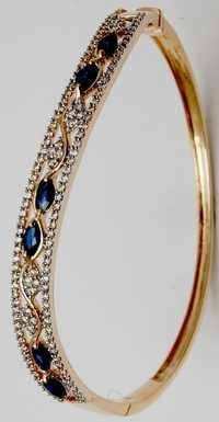 elegant blue gemstone half bangle design