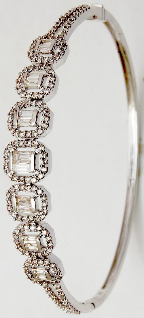 designer 18k white gold half bangle