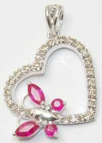 white gold ruby diamond pendant