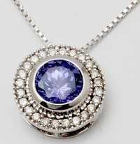 trendy tanzanite gemstone round diamond pendant