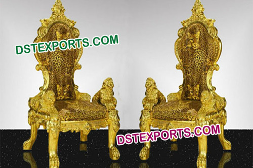 Beautiful Lion Golden Chairs Set