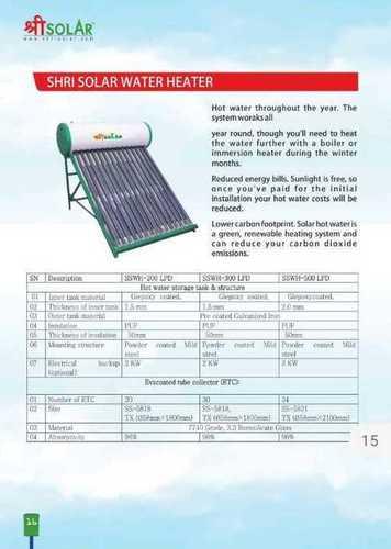 415 Volt Domestic Solar Water Heater