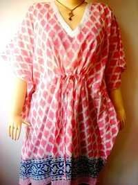 PINK GEOMETRIC COTTON KAFTAN