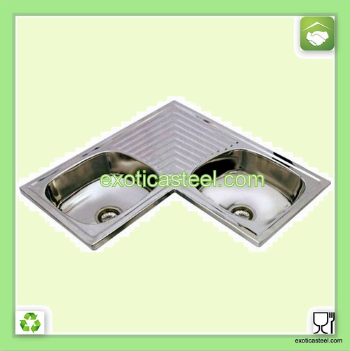 Stainless Steel Corner Double Sink with Drain Board