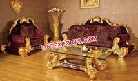 Mahroon Wedding Hand Carved Royal Sofa Set