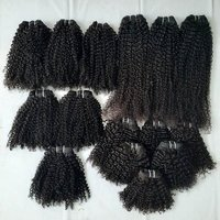 Black Kinky Curly Human Hair Extensions