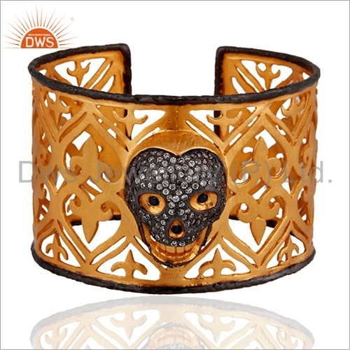 Gold Plated Silver CZ Skull Designs Cuff Bangle