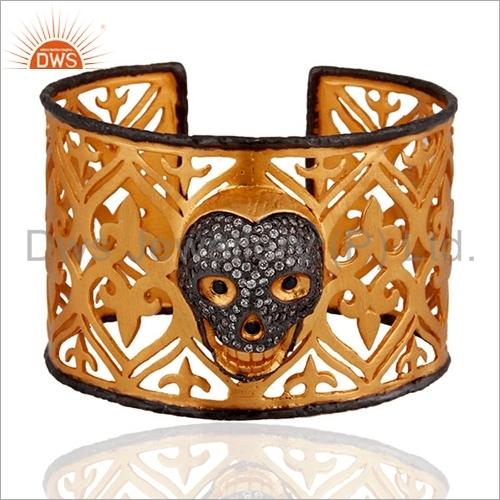 Gold Plated Silver CZ Skull Designs Cuff Bangle