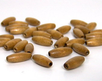 Light Brown Oval Wood Beads