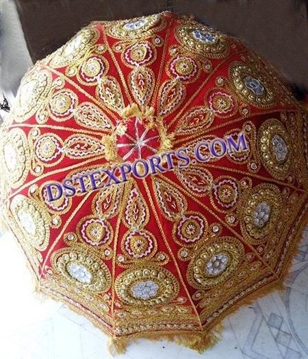 WEDDING EMBROIDED REDISH GOLDEN EUMBRELLA