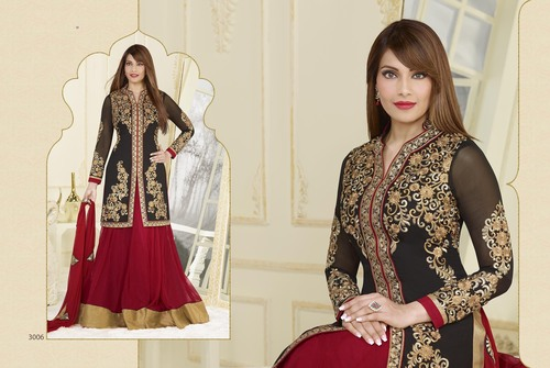 Black With Red Color Anarkali Suit -3006