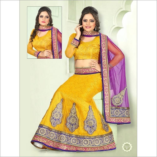 Lehenga Yellow Color Embroidery stone and patch border work 7019-B