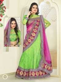 Pink With Green Color  desinger lehnga