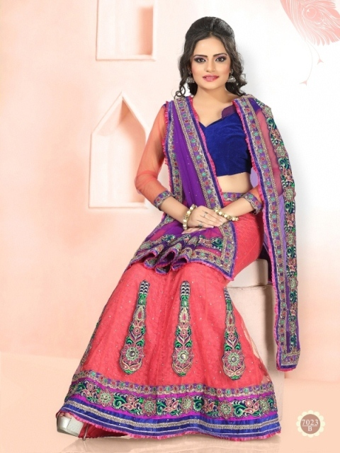 Red With Blue Color Lehenga 7023-B