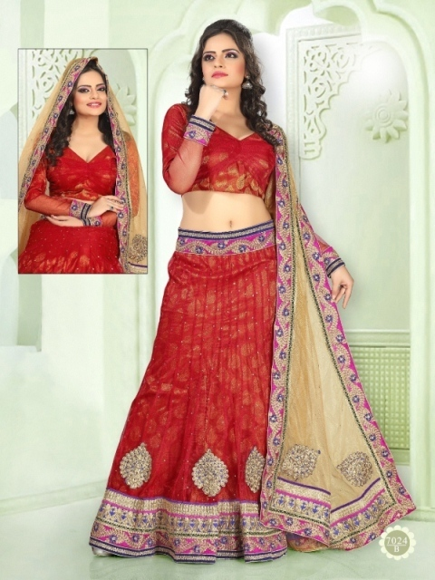 Lehenga With Red Color 7024-B