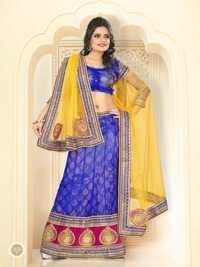 Blue With Yellow Color Lehnga