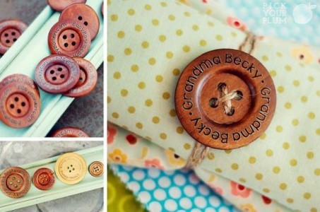 Brown Wooden Shirt Buttons with Name