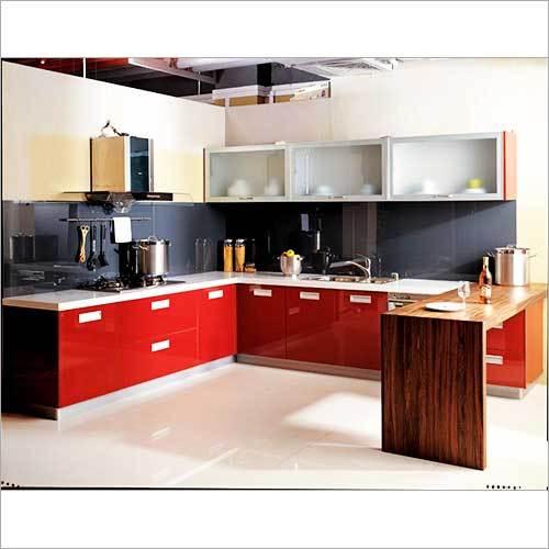 Red Theme Modular Kitchen Interior Designing Red Theme Modular Enchanting Kitchen Interior Designing