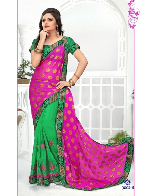 Pink With Green Color Saree 9002-B
