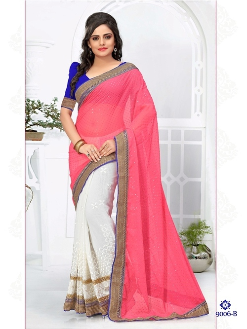 White With Red Color Saree 9006-B