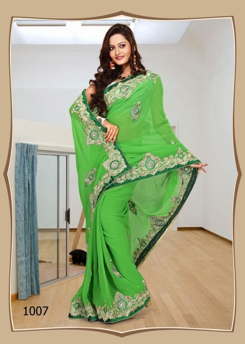 1007-Green Color Saree