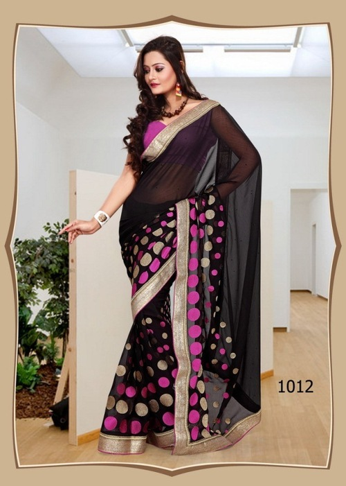 Black Ethnic Color Saree -1012