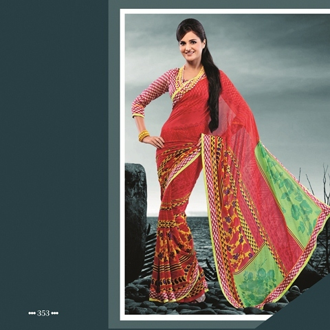 Deep Red With Sea Green Color 353-B