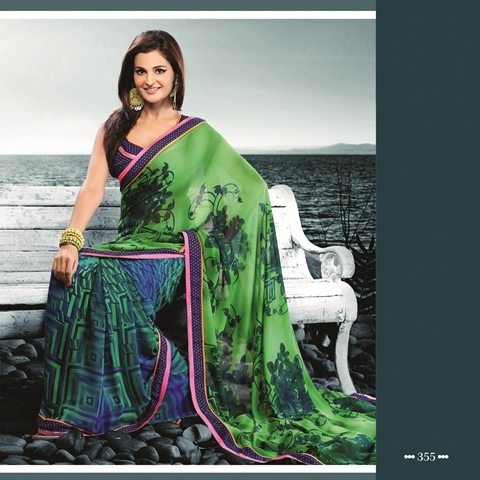 Forest Green Color Saree